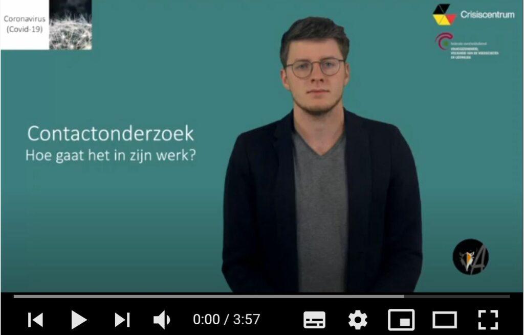 afbeelding van het startscherm, video: Contactonderzoek: hoe gaat het in zijn werk? ingesproken door Jérémie