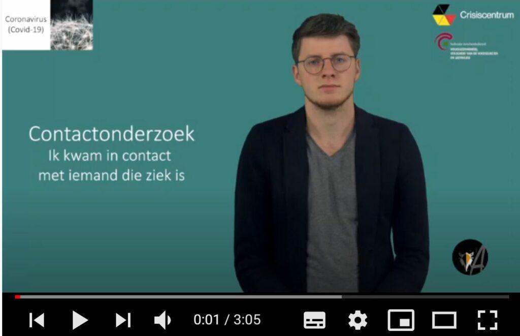 afbeelding van het startscherm, video: Contactopvolging: ik kwam in contact met iemand die ziek is - ingesproken door Lore
